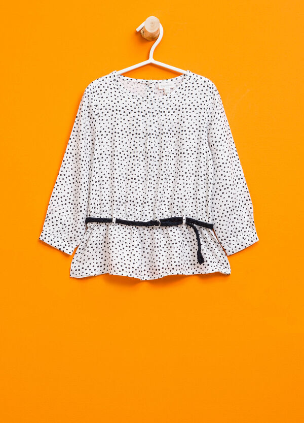 Blouse with polka dot pattern and belt | OVS