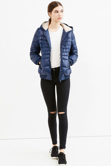 Down jacket with hood and fur lining, Navy Blue, hi-res