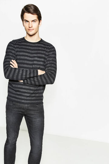 Striped pullover with small pocket, Black/Grey, hi-res