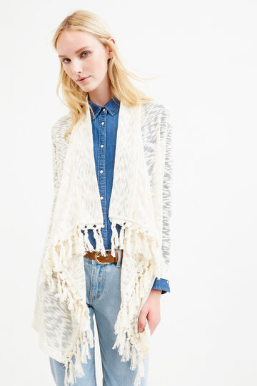 Viscose and cotton cardigan with tassels, Natural, hi-res