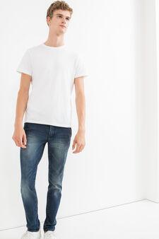 Slim-fit, worn-effect stretch jeans, Dark Wash, hi-res