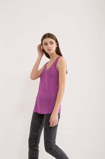 Viscose blend top with zip, Purple, hi-res