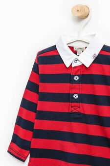 Striped pattern polo shirt in 100% cotton, Navy Blue, hi-res