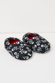 Canvas slippers with skull pattern, Black, hi-res
