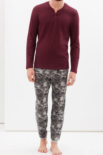 Full-length pyjamas in 100% cotton, Claret Red, hi-res