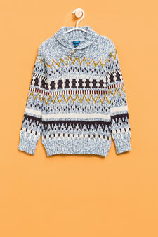 Cotton and wool jacquard pullover., Multicolour, hi-res