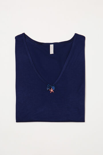 Solid colour viscose pyjama top, Blue, hi-res