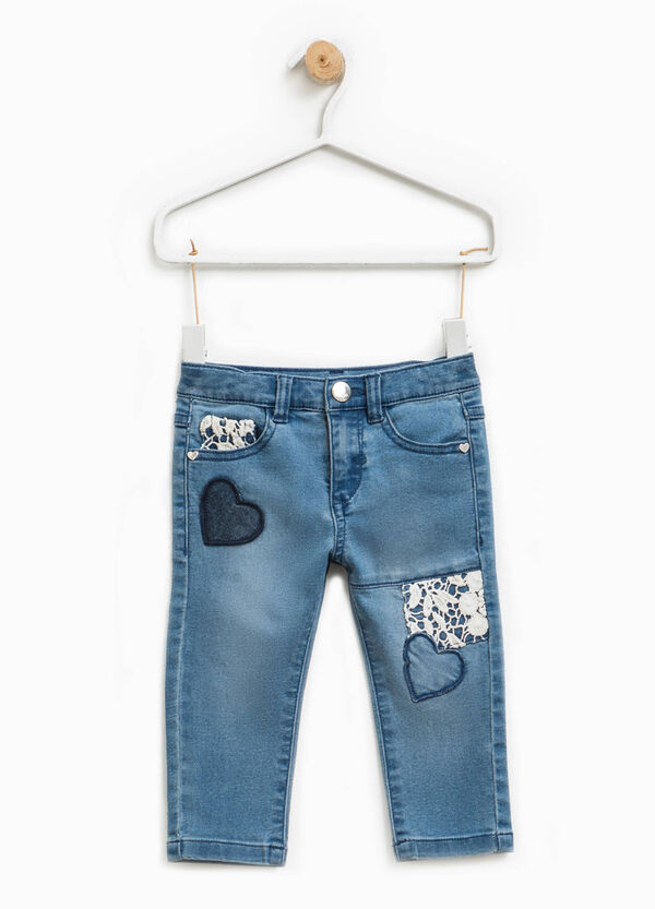 Stretch jeans with lace and heart patches | OVS