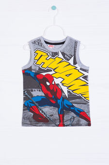 Cotton vest top with Spiderman print, Grey Marl, hi-res