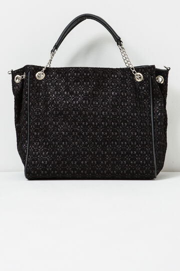 Patterned handbag with chain handles, Black, hi-res