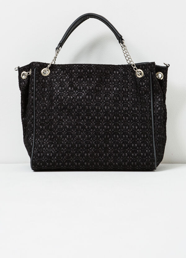 Patterned handbag with chain handles | OVS