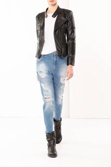 Studded imitation leather jacket, Black, hi-res