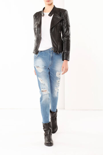 Studded imitation leather jacket