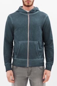 100% cotton hoodie with zip in contrasting colour, Aqua Blue, hi-res