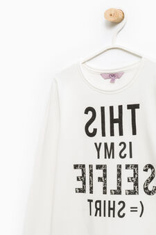 Printed cotton stretch T-shirt, Milky White, hi-res