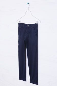 Stretch cotton chinos, Navy Blue, hi-res