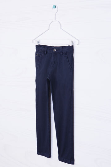 Pantaloni chino cotone stretch, Blu navy, hi-res