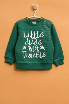 100% cotton sweatshirt with printed lettering, Green, hi-res