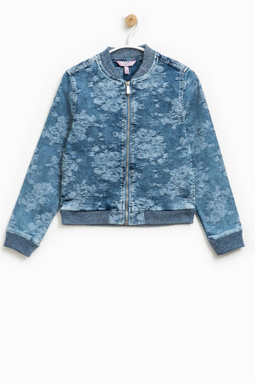Denim bomber jacket with all-over print, Denim Blue, hi-res