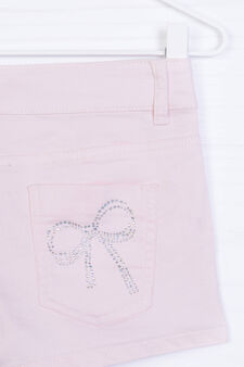Cotton blend stretch shorts with insert, Pink, hi-res