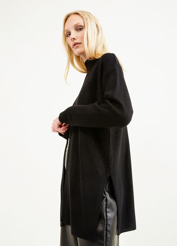 Long knitted cardigan with slits | OVS