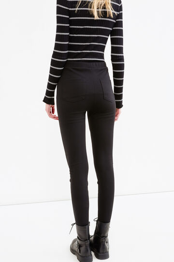 Solid colour stretch leggings with zip, Black, hi-res