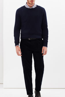 Regular fit trousers in corduroy velvet, Dark Blue, hi-res
