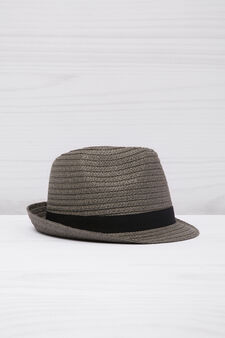 Hat with insert in contrasting colour, Grey, hi-res