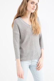 Pullover tricot con paillettes, Grigio chiaro, hi-res
