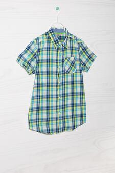 Camicia puro cotone a quadri, Blu/Verde, hi-res