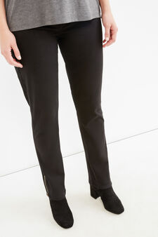 Curvy stretch cotton twill trousers, Black, hi-res