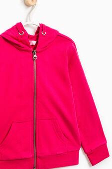 Solid colour 100% cotton sweatshirt, Cherry Red, hi-res