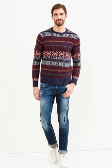 Knitted pullover with all-over embroidery, Navy Blue, hi-res