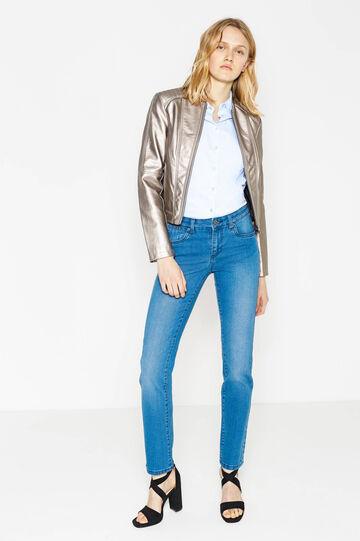 Solid colour regular-fit stretch jeans, Blue, hi-res
