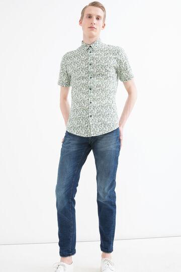 Camicia slim fit cotone fantasia, Verde, hi-res