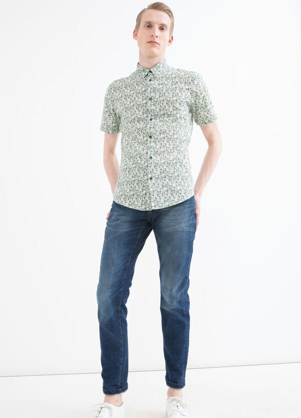 Slim fit patterned cotton shirt | OVS