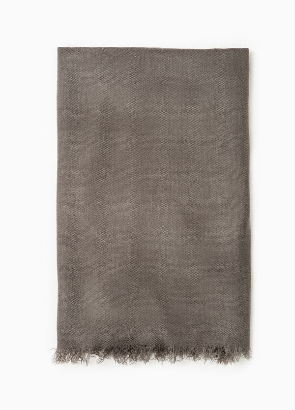 Solid colour scarf with fringed edging | OVS