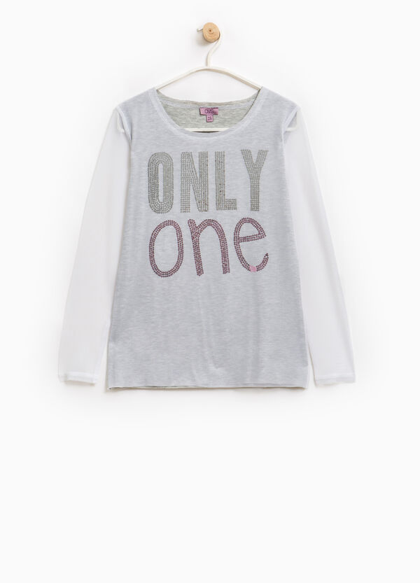 Viscose T-shirt with sequins and tulle | OVS