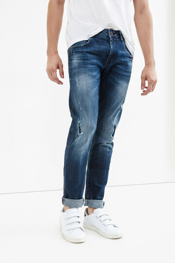 Worn-effect stretch jeans, Denim, hi-res