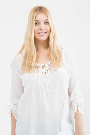 100% cotton Curvy blouse, White, hi-res