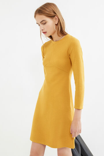 Solid colour viscose blend dress, Ochre Yellow, hi-res