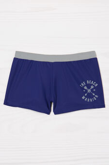 Stretch printed swim boxer shorts, Blue, hi-res