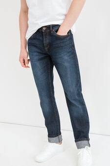 Straight-fit jeans with worn effect and contrasting seams, Dark Wash, hi-res