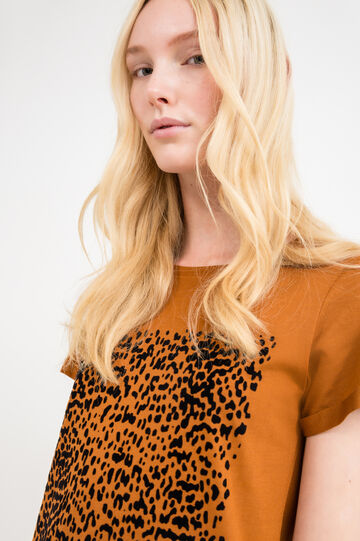 Modal cotton T-shirt with print, Tobacco Brown, hi-res