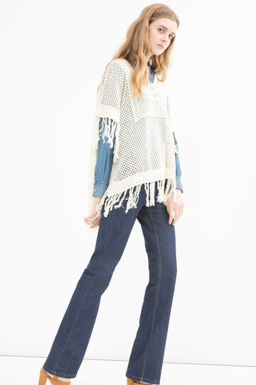 100% cotton cape with fringe, White, hi-res