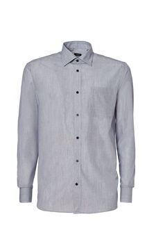 Regular-fit, yarn-dyed striped shirt, Grey, hi-res