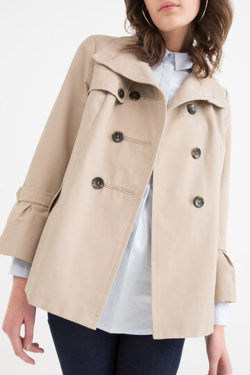 Double-breasted trench coat in cotton blend, Beige, hi-res