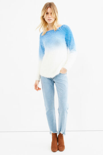 Knit degradé pullover, White/Light Blue, hi-res