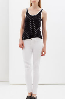 Skinny jeans with creases, White, hi-res