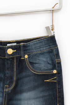 Worn-effects stretch jeans with abrasions, Dark Blue, hi-res